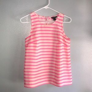 J. Crew Pink Striped Shell Sleeveless Blouse Tank